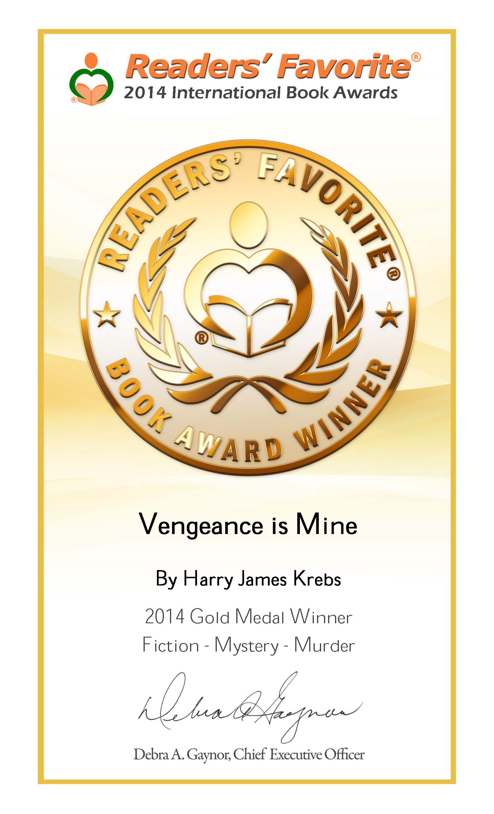 'Vengeance is Mine' wins Readers' Favorite 2014 Gold Medal Award